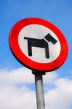 Σημάδι που λέει ότι τα σκυλιά είναι απαγορευμένα Στοκ εικόνα με δικαίωμα ελεύθερης χρήσης