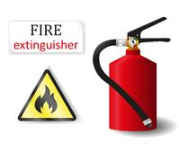 Σημάδι πυροσβεστήρων εύφλεκτο και η επιγραφή στο μόριο Στοκ φωτογραφίες με δικαίωμα ελεύθερης χρήσης