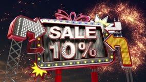 Σημάδι «ΠΩΛΗΣΗ 10%» πώλησης στην οδηγημένη ελαφριά προώθηση πινάκων διαφημίσεων ελεύθερη απεικόνιση δικαιώματος