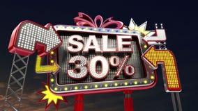Σημάδι «ΠΩΛΗΣΗ 30%» πώλησης στην οδηγημένη ελαφριά προώθηση πινάκων διαφημίσεων ελεύθερη απεικόνιση δικαιώματος