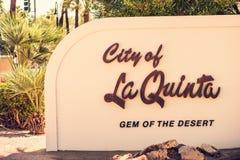 Σημάδι πόλεων La Quinta στοκ φωτογραφία με δικαίωμα ελεύθερης χρήσης