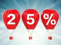 σημάδι πώλησης 25% στο κόκκινο - μπαλόνια ζεστού αέρα Στοκ Εικόνα