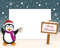 Σημάδι πλαισίων Χριστουγέννων & μεθυσμένο Penguin Στοκ Φωτογραφίες