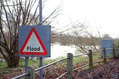 Σημάδι πλημμυρών. Στοκ Φωτογραφίες