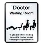 Σημάδι πληροφοριών αίθουσας αναμονής γιατρών Στοκ Εικόνες
