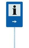 Σημάδι πληροφοριών στο μπλε, μαύρο εικονίδιο επιστολών ι, άσπρο πλαίσιο, δεξί βέλος υπόδειξης, απομονωμένο σύστημα σηματοδότησης  Στοκ Εικόνες