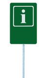 Σημάδι πληροφοριών στο πράσινα, άσπρα εικονίδιο επιστολών ι και το πλαίσιο, κενό κενό διαστημικό υπόβαθρο αντιγράφων, απομονωμένο Στοκ Εικόνες