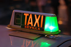 Σημάδι Σεβίλλη ταξί Στοκ Εικόνες
