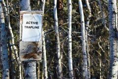Σημάδι σε ένα ενεργό Trapline στα ξύλα Στοκ Φωτογραφία