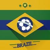 Σημάδι σημαιών ποδοσφαίρου της Βραζιλίας διανυσματική απεικόνιση
