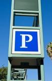 Σημάδι στάθμευσης για το μέρος πόλεων Στοκ Εικόνα