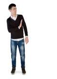 Σημάδι στάσεων νεαρών άνδρων Στοκ Εικόνες