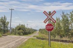Σημάδι στάσεων σιδηροδρόμων Στοκ εικόνες με δικαίωμα ελεύθερης χρήσης