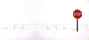 Σημάδι στάσεων στο χειμερινό οδόστρωμα με το χιόνι Στοκ Εικόνες