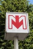 Σημάδι σταθμών μετρό στη Λίλλη Στοκ Φωτογραφία