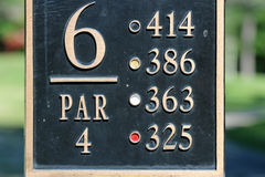 Σημάδι στο γήπεδο του γκολφ Στοκ Εικόνες