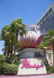 Σημάδι στο μέτωπο του ξενοδοχείου και της χαρτοπαικτικής λέσχης του Λας Βέγκας φλαμίγκο Στοκ Φωτογραφίες