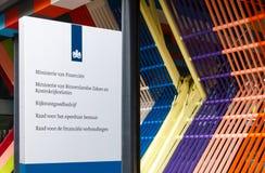 Σημάδι στο ολλανδικό υπουργείο Οικονομικών, Υπουργείο Εσωτερικών και Στοκ Φωτογραφίες