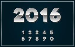 2016 σημάδι στο χρώμιο ή το ασήμι απεικόνιση αποθεμάτων