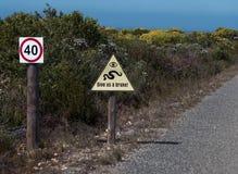 Σημάδι συντήρησης στο εθνικό πάρκο στοκ εικόνες