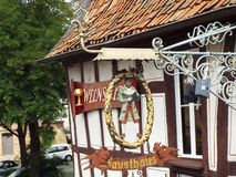 Σημάδι συντεχνιών στο σπίτι Faust Στοκ φωτογραφία με δικαίωμα ελεύθερης χρήσης