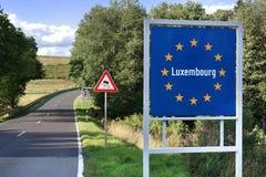 Σημάδι συνόρων του Λουξεμβούργου Στοκ Εικόνες