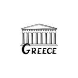 Σημάδι της Ελλάδας Ελληνικός διάσημος ναός ορόσημων Ετικέτα της Ελλάδας ταξιδιού διανυσματική απεικόνιση