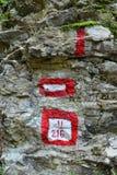 σημάδι τουριστών βουνών Στοκ Εικόνες