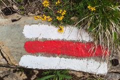Σημάδι του ίχνους πεζοπορίας στα ελβετικά όρη Στοκ φωτογραφίες με δικαίωμα ελεύθερης χρήσης