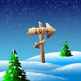 σημάδι του 2014 στα χιονώδη landscapae Στοκ φωτογραφία με δικαίωμα ελεύθερης χρήσης