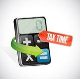 Σημάδι φορολογικού χρόνου και σχέδιο απεικόνισης υπολογιστών Στοκ Εικόνα