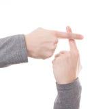 Σημάδι χεριών ατόμων που απομονώνεται Στοκ Φωτογραφία