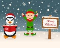 Σημάδι Χριστουγέννων - Penguin & χαριτωμένη πράσινη νεράιδα διανυσματική απεικόνιση