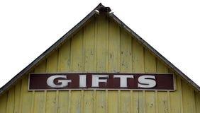Σημάδι δώρων στο εγκαταλειμμένο κατάστημα Στοκ εικόνες με δικαίωμα ελεύθερης χρήσης