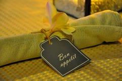 Σημάδι Apetite Bon στην πετσέτα Στοκ Εικόνες