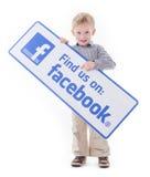 Σημάδι Facebook εκμετάλλευσης μικρών παιδιών Στοκ Εικόνες