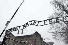 Σημάδι frei Arbeit macht (η εργασία ελευθερώνει), Auschwitz, Πολωνία Στοκ φωτογραφία με δικαίωμα ελεύθερης χρήσης