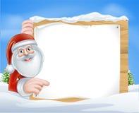 Σημάδι Santa κινούμενων σχεδίων Χριστουγέννων Στοκ Φωτογραφίες
