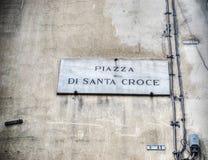 Σημάδι Santa Croce πλατειών στη Φλωρεντία Στοκ φωτογραφία με δικαίωμα ελεύθερης χρήσης
