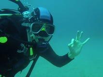 Σημάδι Scubadiver εντάξει Στοκ Φωτογραφία