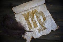 Σημάδι Virgo zodiac σε εκλεκτής ποιότητας χαρτί με την παλαιά μάνδρα στο ξύλινο γραφείο Στοκ Εικόνα
