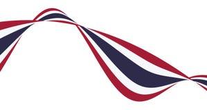 Σημαία έθνους της Ταϊλάνδης κόκκινη, άσπρη, μπλε κορδέλλα καμπυλών ελεύθερη απεικόνιση δικαιώματος