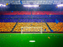 Σημαία Αρμενία των ανεμιστήρων Μπλε χώρων σταδίων βραδιού στοκ εικόνες με δικαίωμα ελεύθερης χρήσης