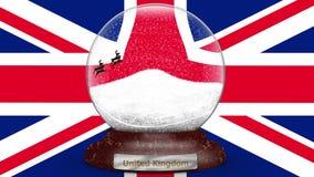 Σημαία Βασίλειο στη σφαίρα χιονιού απόθεμα βίντεο