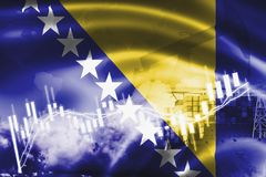 Σημαία Βοσνίας-Ερζεγοβίνης, χρηματιστήριο, οικονομία ανταλλαγής και εμπόριο, παραγωγή πετρελαίου, σκάφος εμπορευματοκιβωτίων στην απεικόνιση αποθεμάτων