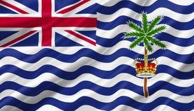 Σημαία Βρετανικών Εδαφών Ινδικού Ωκεανού που κυματίζει με τον αέρα, τρισδιάστατος άρρωστος Στοκ φωτογραφία με δικαίωμα ελεύθερης χρήσης