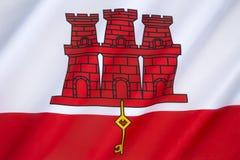 σημαία Γιβραλτάρ Στοκ φωτογραφία με δικαίωμα ελεύθερης χρήσης