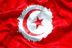Σημαία Δημοκρατία της Τυνησίας από τη βούρτσα χρωμάτων watercolor στο ύφασμα καμβά, grunge ύφος Στοκ φωτογραφία με δικαίωμα ελεύθερης χρήσης