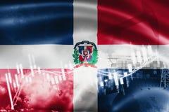 Σημαία Δομινικανής Δημοκρατίας, χρηματιστήριο, οικονομία και εμπόριο ανταλλαγής, παραγωγή πετρελαίου, σκάφος εμπορευματοκιβωτίων  διανυσματική απεικόνιση