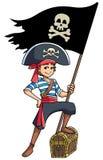 Σημαία εκμετάλλευσης αγοριών πειρατών απεικόνιση αποθεμάτων